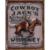 Plaque publicitaire métal Whiskey Jack's cowboy