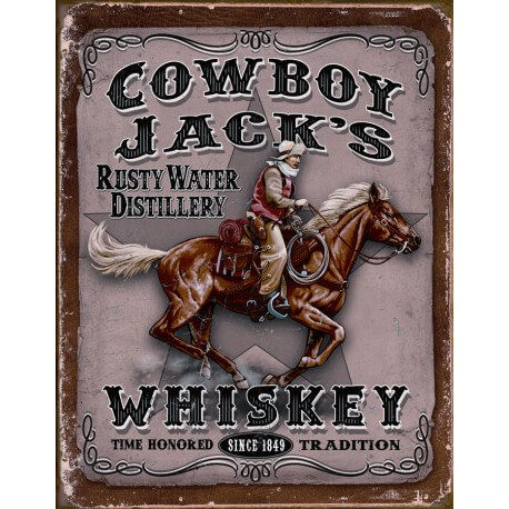 plaque publicitaire whiskey jack 39 s cowboy us way of life. Black Bedroom Furniture Sets. Home Design Ideas