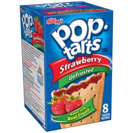 Kellogg's Pop Tarts  à la fraise: «Kellogg's Unfrosted Strawberry Pop-Tarts»