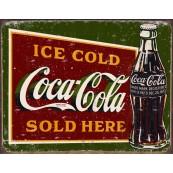 Plaque publicitaire métal Coca-Cola sold here