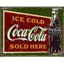 """Plaque publicitaire métal """"Coca-Cola sold here"""""""