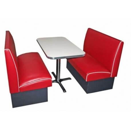 Ensemble table blanche et banquettes rouge
