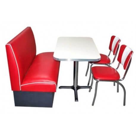 Ensemble Table Blanche / Banquette et Chaises Rouge