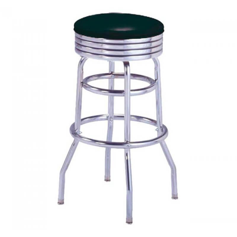 Tabouret de bar noir sans dossier us way of life - Pied pour tabouret de bar ...