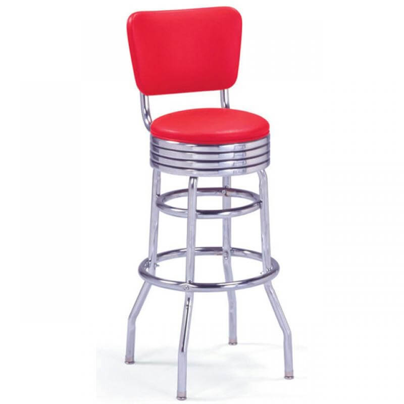 Tabouret de bar rouge avec dossier us way of life - Tabouret de bar a dossier ...