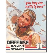 "Plaque publicitaire métal ""Defense Bonds Stamps"""